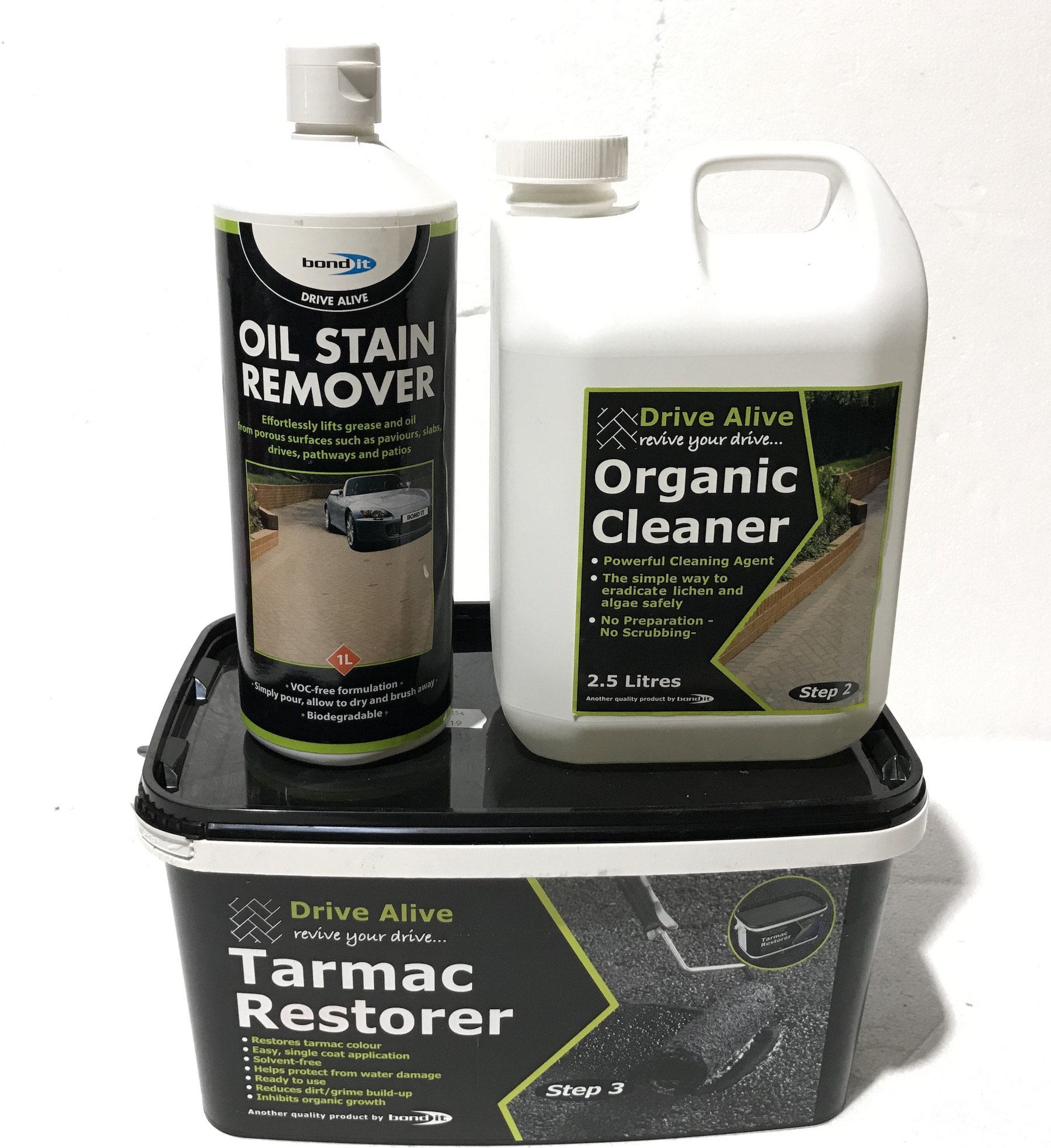 Tarmac Drive way Path Paving Colour Restorer & Cleaners 1 2 3 Kit Revival