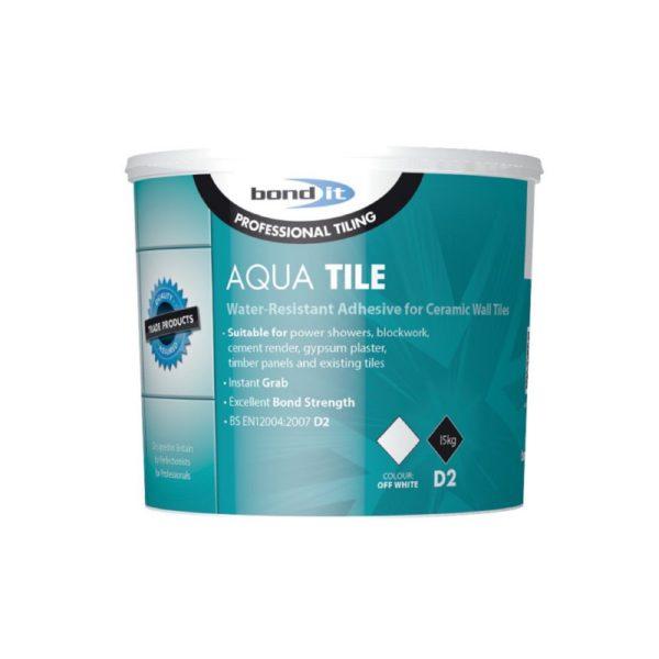 Bond It AQUA-TILE WATER-RESISTANT WALL TILE ADHESIVE Ready Mix Off White 15Kg