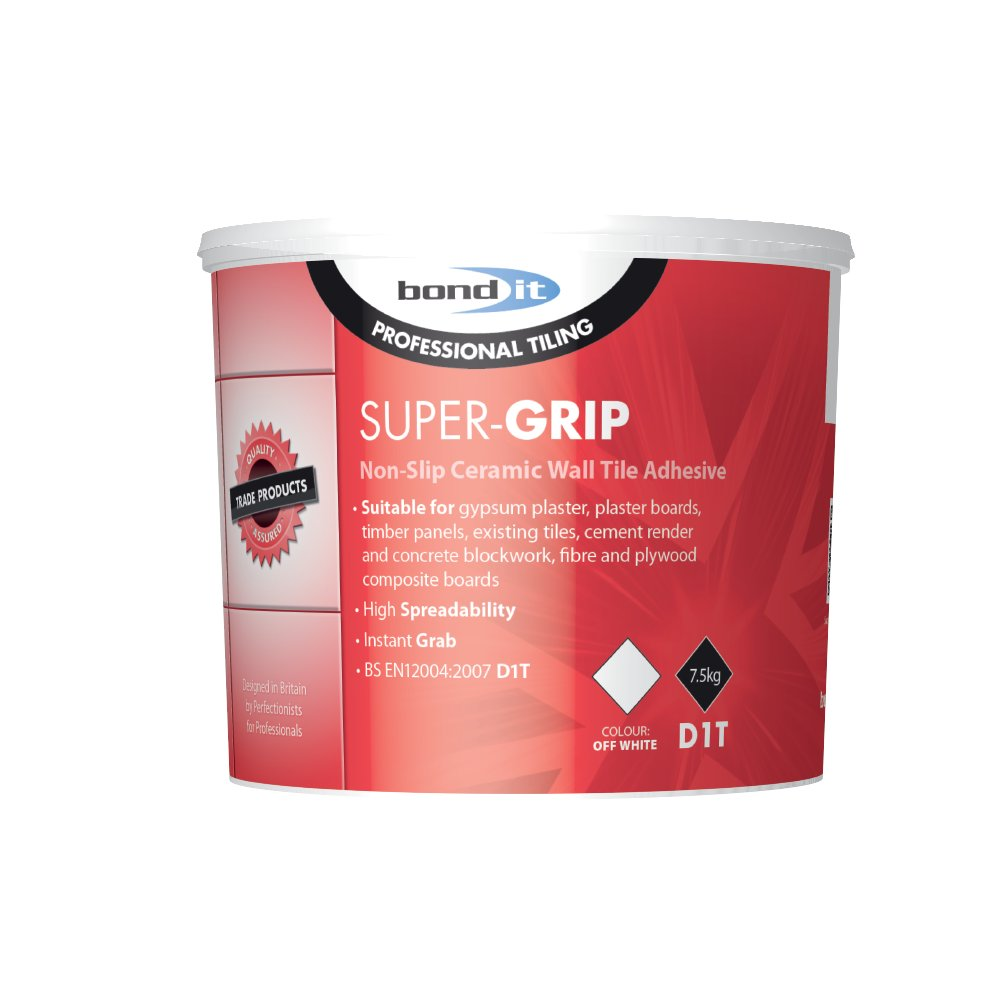 Bond It SUPER-GRIP Ready Mix Non Slip Tile Adhesive Off White 7.5Kg