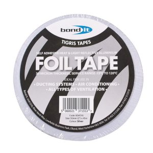 Aluminium Foil Tape Silver Ducting Ventilation Fans Ducts Heat Light Reflective 50mm x 45m Roll