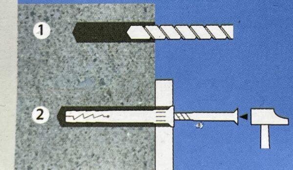 Door Window Frame Hammer In Nylon Wall Fixings 40mm 60mm 80mm 100mm