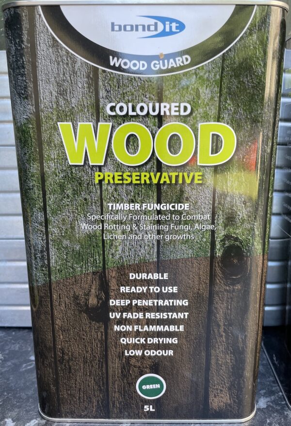 Green Wood Preservative Treatment 5L Treats Wood Worm Rot Fence Shed Timber