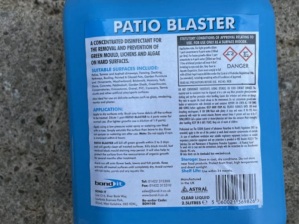 Patio Blaster Concentrated Hard Surface Disinfectant To Remove Green Mould Growth 2.5L