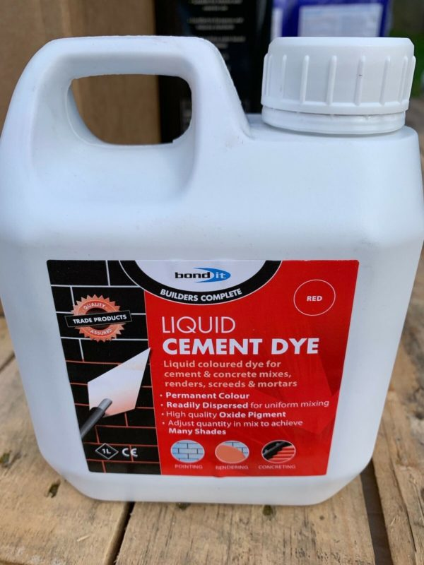 Red Cement Concrete Dye High Oxide Liquid Pigment Bricklayers DIY Trades Home