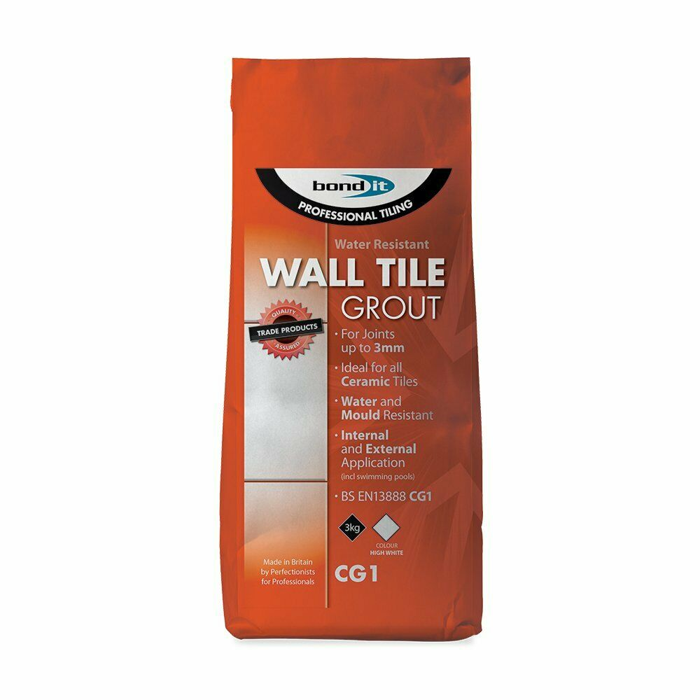 White Cement based Wall Tile Grout Professional Quality 3KG Water & Mould Resist