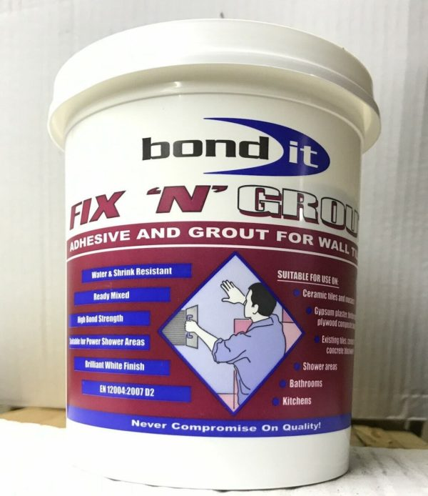 Tile Adhesive & Grout White Bathroom Kitchen Ready Mixed For Home DIY Fix N Grout 1.5kg