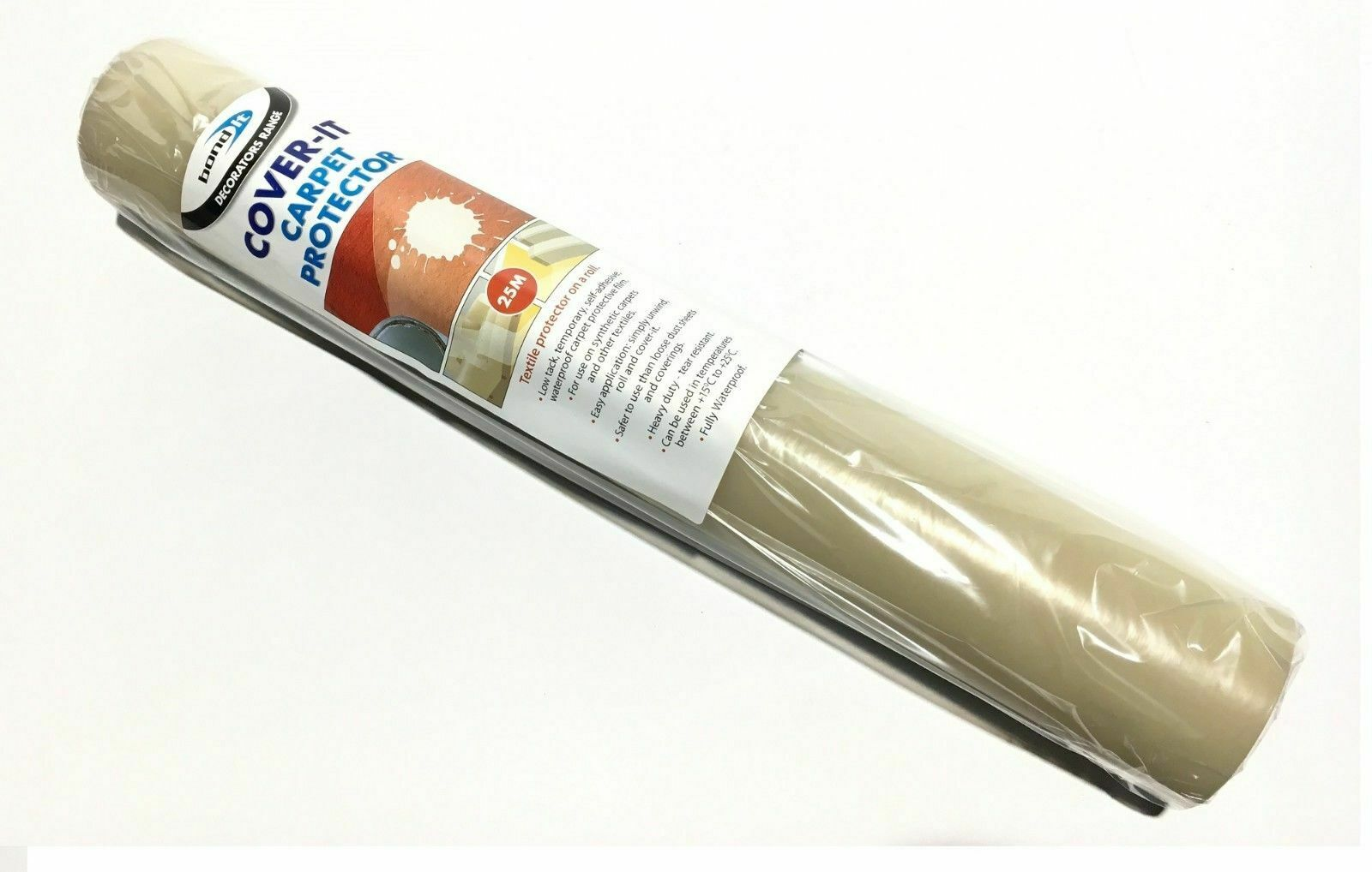 New Painters Decorators Builders Sticky Back Carpet Floor Protection 25M Roll